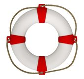 Lifebuoy with rope. 3D rendering of Lifebuoy with rope isolated on white. Clipping Path included Royalty Free Stock Photos