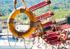 Lifebuoy and rope ladder Royalty Free Stock Image