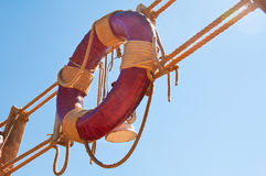 Lifebuoy  and rope ladder. Royalty Free Stock Photos