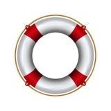 Lifebuoy with rope. Lifebelt realistic illustration Royalty Free Stock Photos