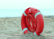 Lifebuoy with rope to rescue swimmers Royalty Free Stock Photos