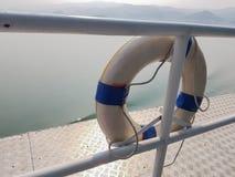 Lifebuoy rubber ring. On passenger boat Stock Image
