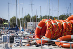 A lifebuoy for the safety of people in the harbor Royalty Free Stock Photography