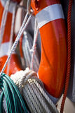 Lifebuoy and safety rope Royalty Free Stock Photography