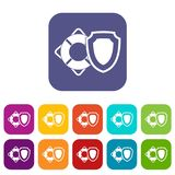 Lifebuoy and safety shield icons set. Vector illustration in flat style in colors red, blue, green, and other stock illustration