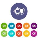 Lifebuoy and safety shield set icons Stock Photo