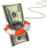 Lifebuoy saving dollar 3d concept Stock Photo