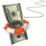 Lifebuoy saving dollar 3d concept. Dollar crisis royalty free illustration