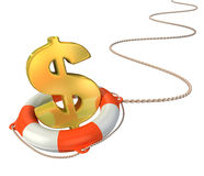 Lifebuoy saving dollar 3d concept Stock Photos