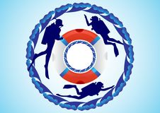Lifebuoy and scuba divers Royalty Free Stock Images