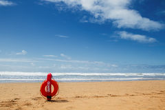 Lifebuoy on sea background Royalty Free Stock Image