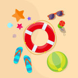 Lifebuoy Sea Beach Sand Summer Vacation Holiday Stock Photo