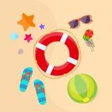 Lifebuoy Sea Beach Sand Summer Vacation Holiday Stock Photo