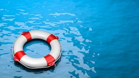 Lifebuoy in the Sea. With Copyspace 3D Illustration royalty free illustration