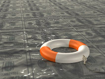 Lifebuoy in the sea of oil Royalty Free Stock Image