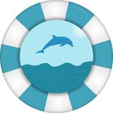 Lifebuoy with sea view royalty free illustration