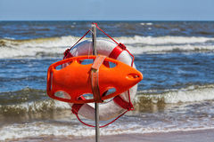 Lifebuoy at seaside Royalty Free Stock Photography