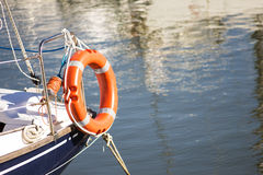 Lifebuoy on ship or boat. Lifebuoy rescue device to save life on ship or boat Stock Photo