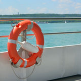 Lifebuoy on a ship Stock Images