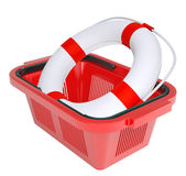 Lifebuoy in shopping basket Stock Photography