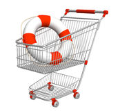 Lifebuoy in shopping cart Stock Photos