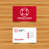 Lifebuoy sign icon. Life salvation symbol. Business card template. Lifebuoy sign icon. Life salvation symbol. Phone, globe and pointer icons. Visiting card Royalty Free Stock Photos
