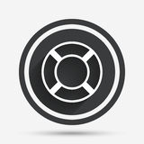 Lifebuoy sign icon. Life salvation symbol. Circle flat button with shadow and border. Vector Stock Photos