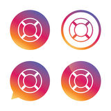 Lifebuoy sign icon. Life salvation symbol. Gradient buttons with flat icon. Speech bubble sign. Vector Stock Photo