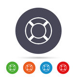 Lifebuoy sign icon. Life salvation symbol. Round colourful buttons with flat icons. Vector Stock Photography