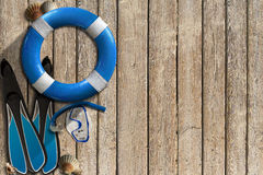 Lifebuoy and Snorkeling Equipment Royalty Free Stock Photography
