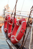 Lifebuoy. Some red lifebuoys on board Stock Photo