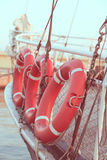 Lifebuoy. Some red lifebuoys on board Royalty Free Stock Image