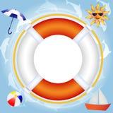 Lifebuoy sopra acqua Fotografie Stock
