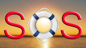 Lifebuoy and SOS sign. Close Royalty Free Stock Image