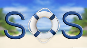 Lifebuoy and SOS sign. Close Royalty Free Stock Images