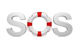Lifebuoy SOS Sign Isolated. On white background. 3D render Stock Images