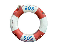 Lifebuoy With SOS Text. SOS Handwritten On A Rustic Old Lifebuoy Stock Photography