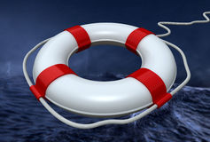 Lifebuoy in the storm royalty free illustration