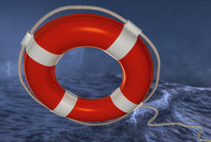 Lifebuoy in the storm. Closeup of a lifebuoy in a storm in the sea Stock Photography