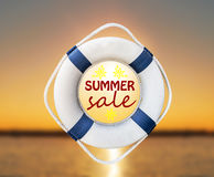 Lifebuoy and summer sale. Close Royalty Free Stock Image
