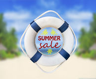 Lifebuoy and summer sale. Close Royalty Free Stock Photos
