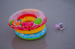 Lifebuoy  swim tube ring at the beach Royalty Free Stock Photography