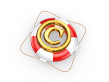 Lifebuoy and symbol of copyright. Royalty Free Stock Photography