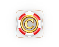 Lifebuoy and symbol of copyright. Royalty Free Stock Photos