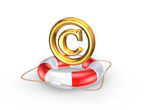 Lifebuoy and symbol of copyright. Royalty Free Stock Image