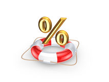 Lifebuoy and symbol of percents. Stock Images