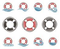 Lifebuoy symbol set Royalty Free Stock Images