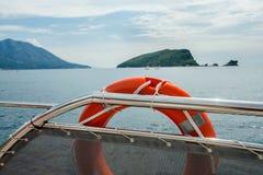 Lifebuoy on the tourist ship Stock Image