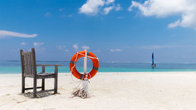 Lifebuoy on the tropical beach. Maldives Royalty Free Stock Images