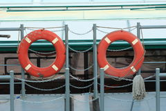 Lifebuoy. Two lifebuoys at the dock Stock Photo